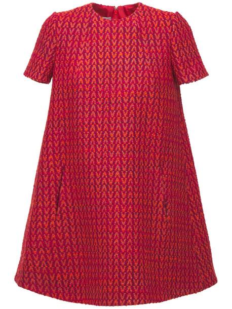 VALENTINO Optical Tweed Mini Dress in red