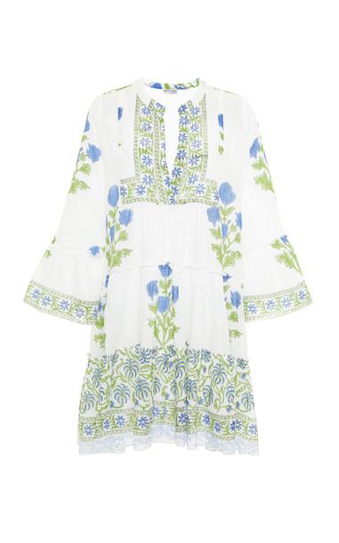 Juliet Dunn Poppy Print Flared Sleeve Cotton Dress in white