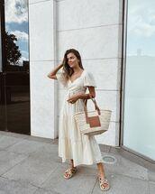 dress,white dress,midi dress,bag,summer dress,summer outfits,sandals