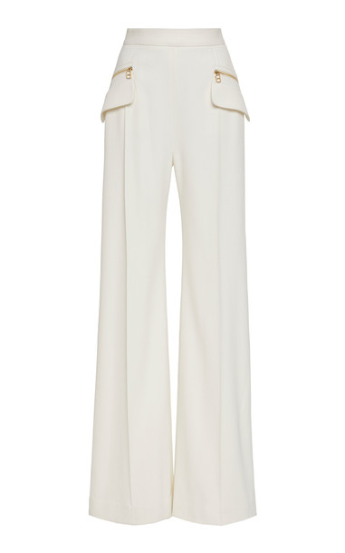 Brandon Maxwell Wide-Leg Accent Pocket Crepe Pants Size: 12 in white