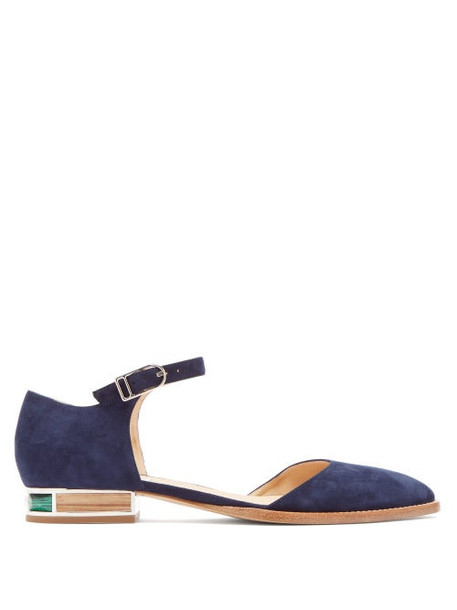 Gabriela Hearst - Riley Suede Mary-jane Ballet Flats - Womens - Navy