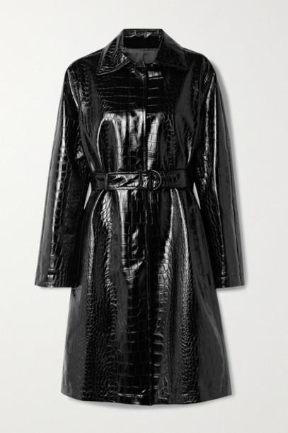 Philosophy di Lorenzo Serafini - Belted Croc-effect Vegan Patent-leather Coat - Black