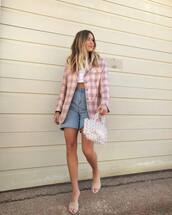 jacket,plaid blazer,high waisted jeans,cropped jeans,sandal heels,handbag,crop tops,white crop tops