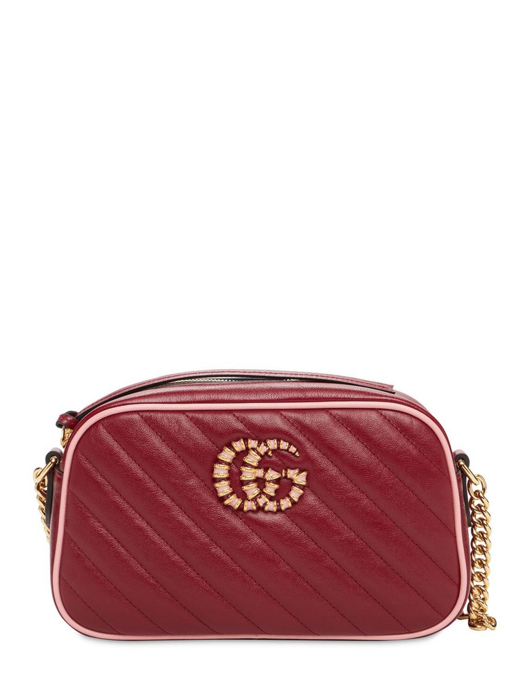 GUCCI Small Gg Marmont Matelassé Leather Bag in red