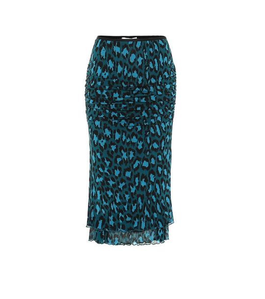 Diane von Furstenberg Elaine leopard-print midi skirt in green