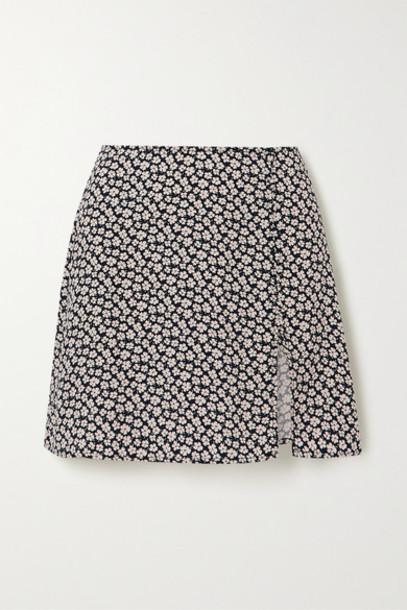 Reformation - Fran Button-detailed Floral-print Crepe Mini Skirt - Black