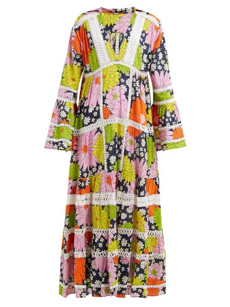Dodo Bar Or - Enid Floral Print Cotton Maxi Dress - Womens - Navy Print