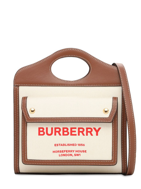 BURBERRY Mini Pocket Canvas & Leather Bag in natural / tan