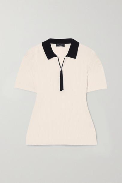 rag & bone - Cadee Two-tone Ribbed-knit Polo Shirt - White
