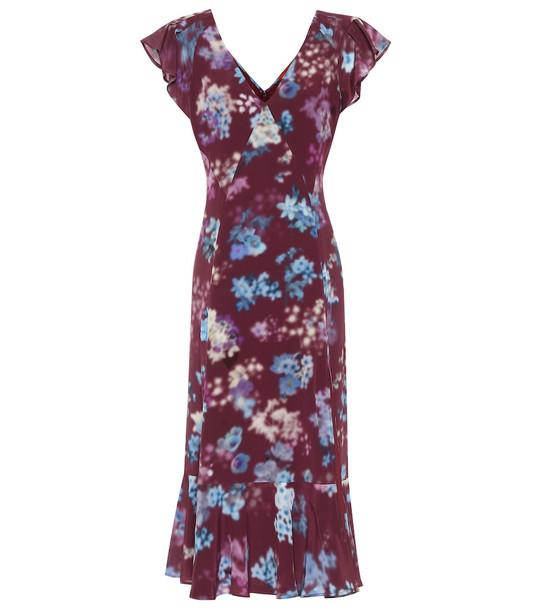 Altuzarra Floral silk-crêpe midi dress in purple