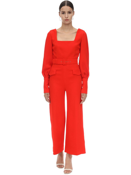EMILIA WICKSTEAD Belted Double Crepe Long Jumpsuit in red