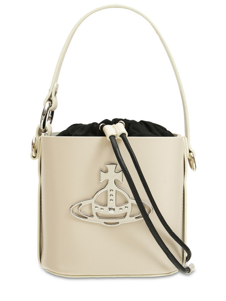 VIVIENNE WESTWOOD Small Betty Smooth Leather Bucket Bag in white