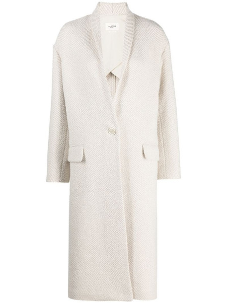 Isabel Marant Étoile chevron knit single-breasted coat in neutrals