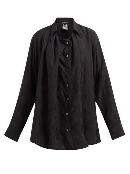 Ann Demeulemeester - Floral Jacquard Drawstring Collar Oversized Shirt - Womens - Black