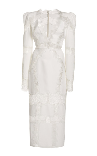 Zuhair Murad Lace-Trimmed Cady Midi Dress in white