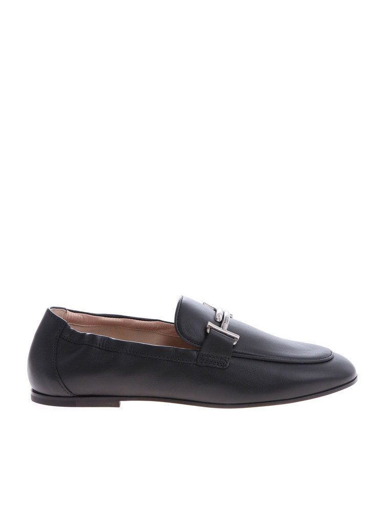 Tod's Double T Plaque Loafers in black