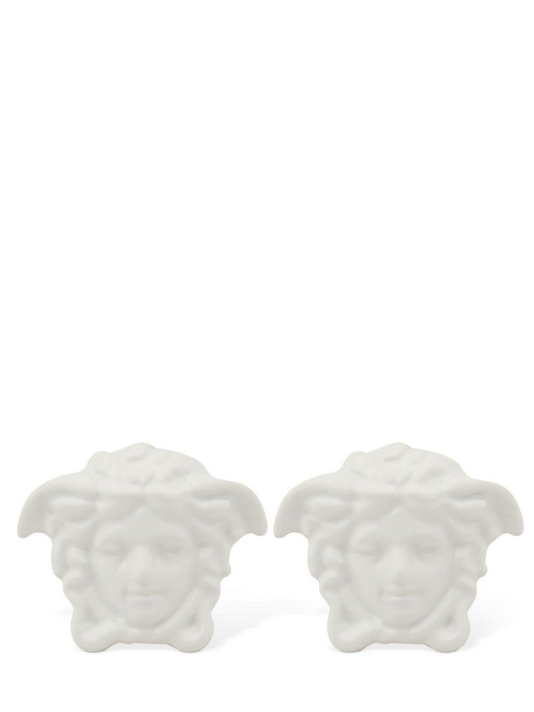 VERSACE Varnished Medusa Stud Earrings in white