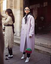 bag,gucci bag,crossbody bag,white shoes,pumps,socks,black pants,trench coat,grey coat,long coat,scarf,white sunglasses
