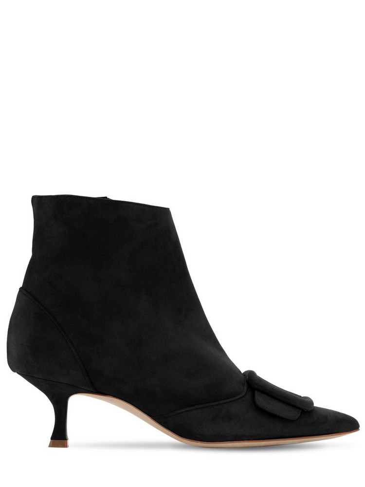 MANOLO BLAHNIK 50mm Baylow Suede Ankle Boots in black