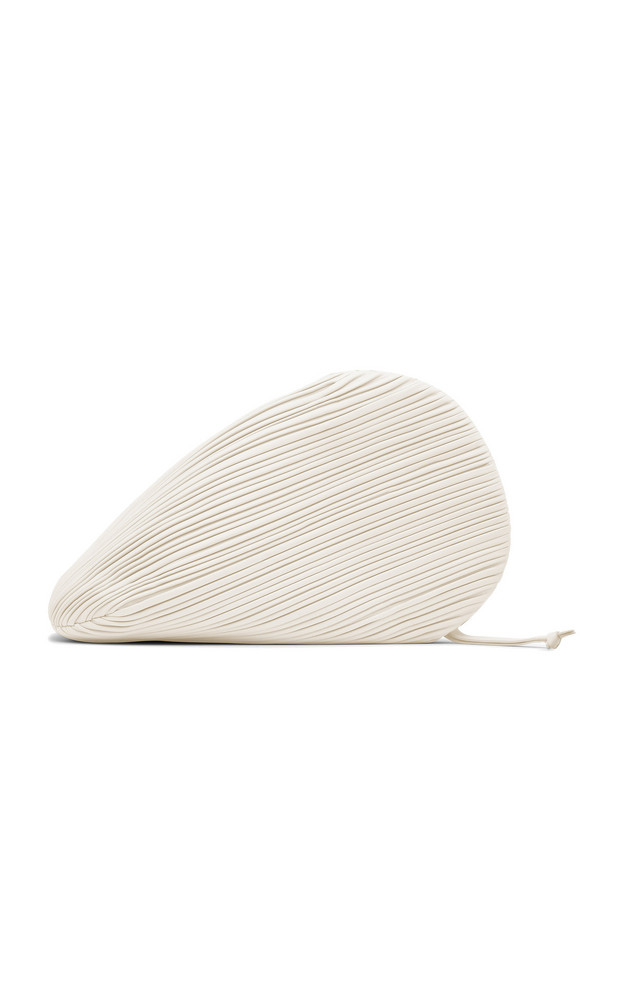 Neous Pluto Pleated Leather Swirl Clutch in white