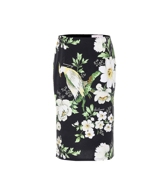 Carolina Herrera Printed stretch-cotton skirt in black