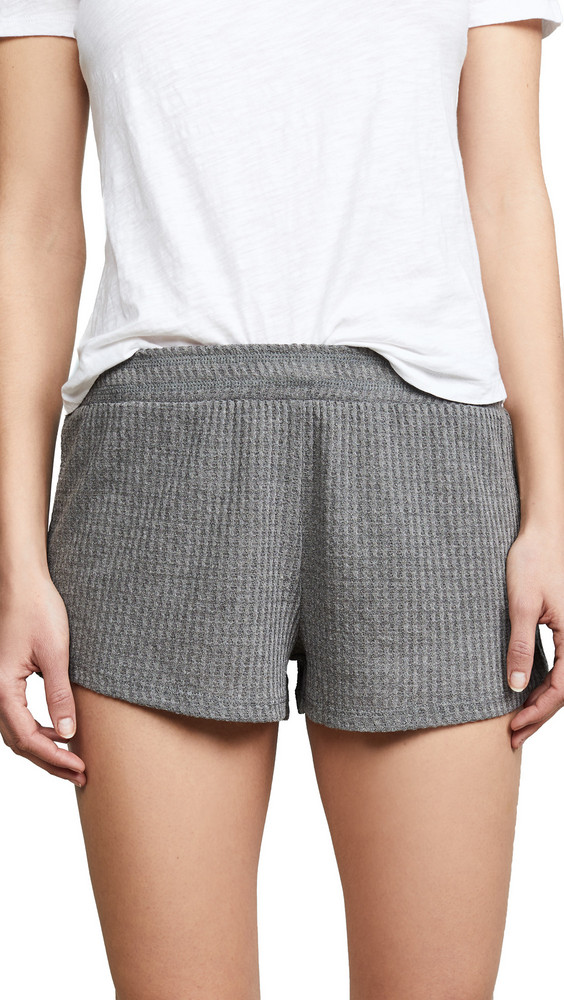 Honeydew Intimates Sneak Peek Waffle Knit Lounge Shorts in grey