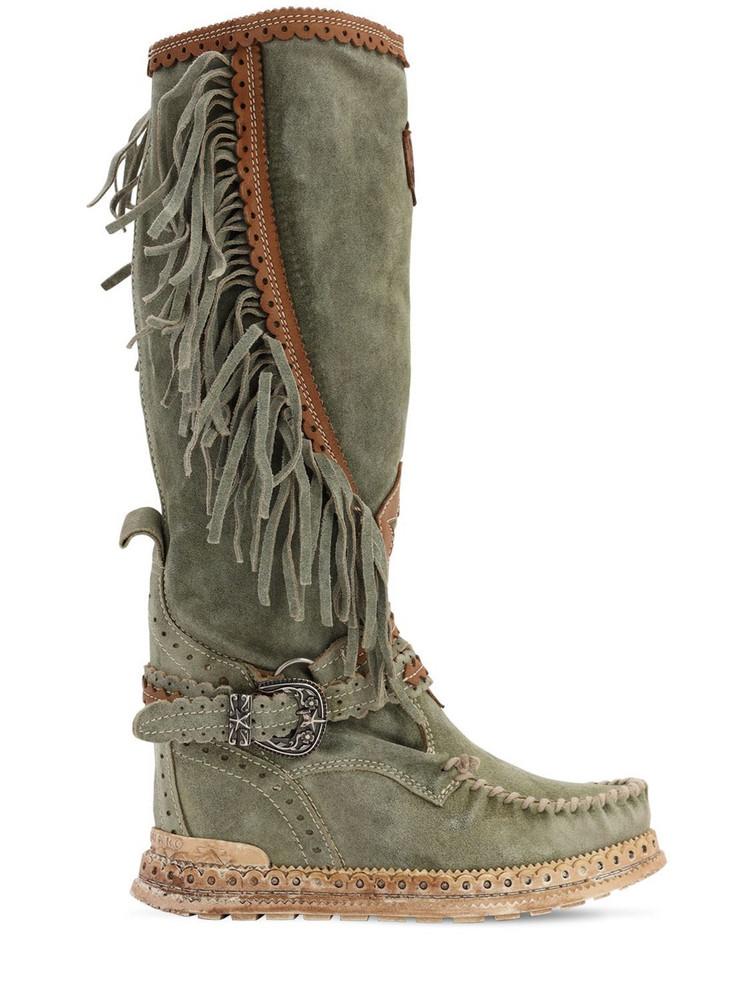 EL VAQUERO 70mm Jade Fringed Suede Boots in green
