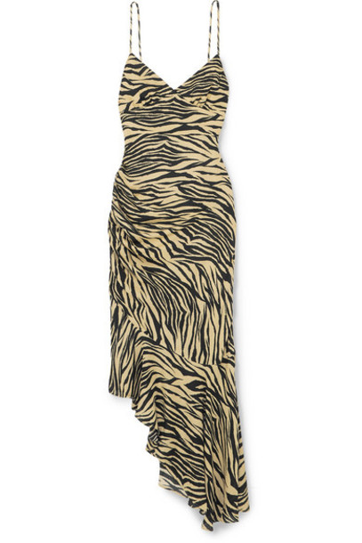Nicholas - Asymmetric Ruched Zebra-print Silk Crepe De Chine Midi Dress - Neutral