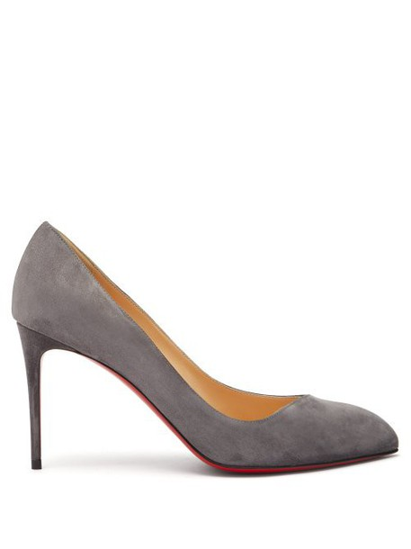 Christian Louboutin - Corneille 85 Asymmetric Suede Pumps - Womens - Grey