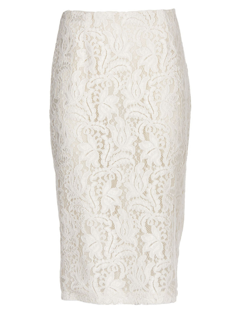 Brognano Embroidered Lace Skirt in white