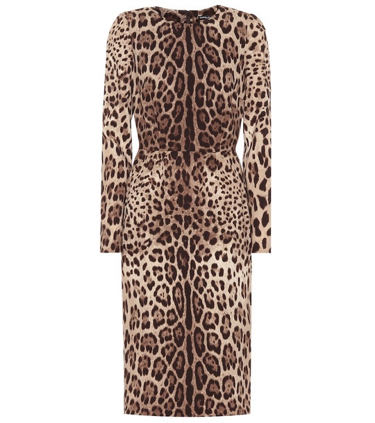 Dolce & Gabbana Leopard-print stretch-silk dress in brown