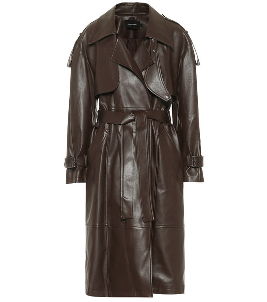 Low classic Belted faux leather trench coat in brown