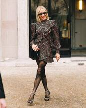 dress,mini dress,wrap dress,long sleeve dress,tights,black sandals,black bag