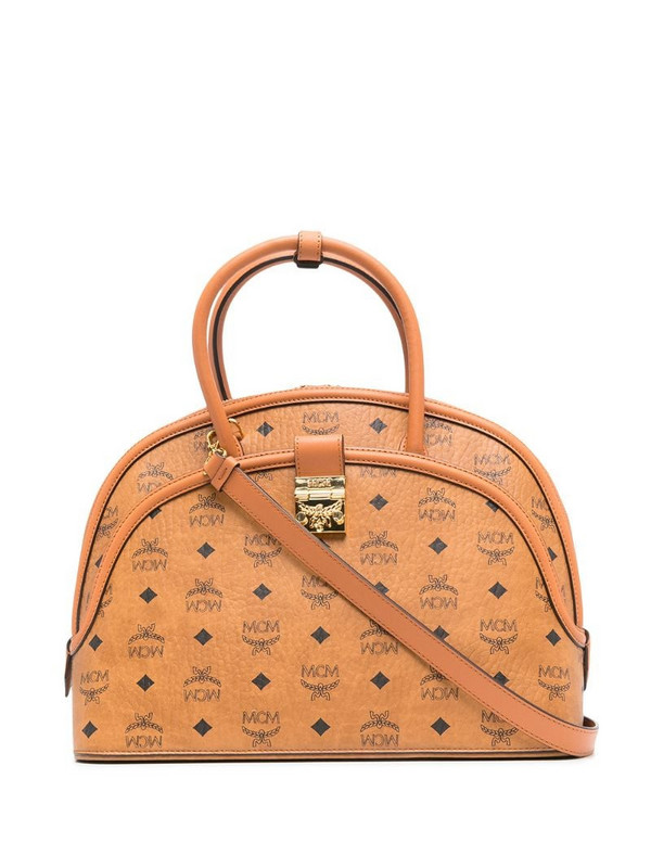 MCM Anna curved tote bag in brown