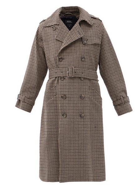 A.P.C. A.P.C. - Greta Checked Wool-blend Trench Coat - Womens - Black Grey