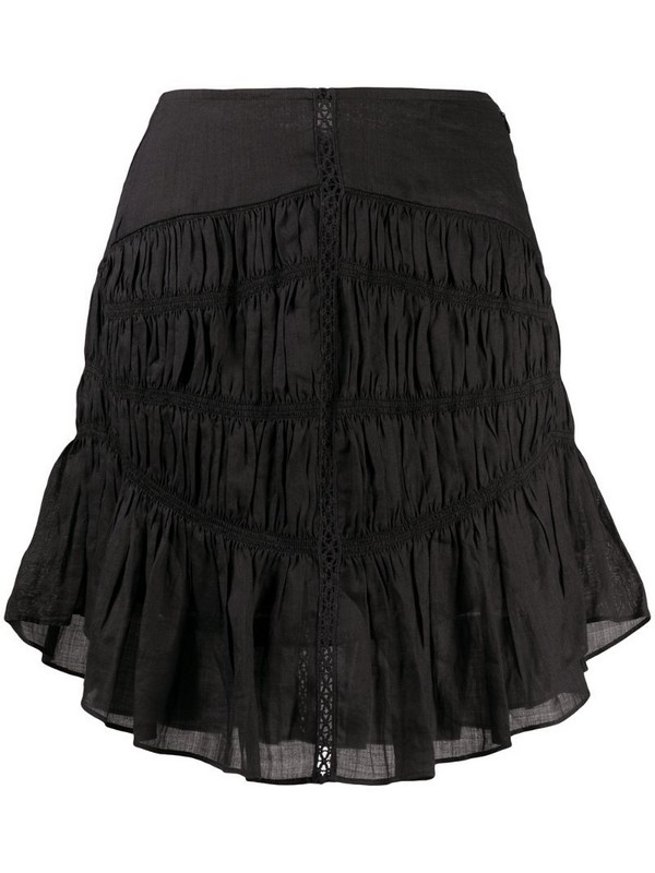 Isabel Marant tiered-gathereing A-line mini skirt in black