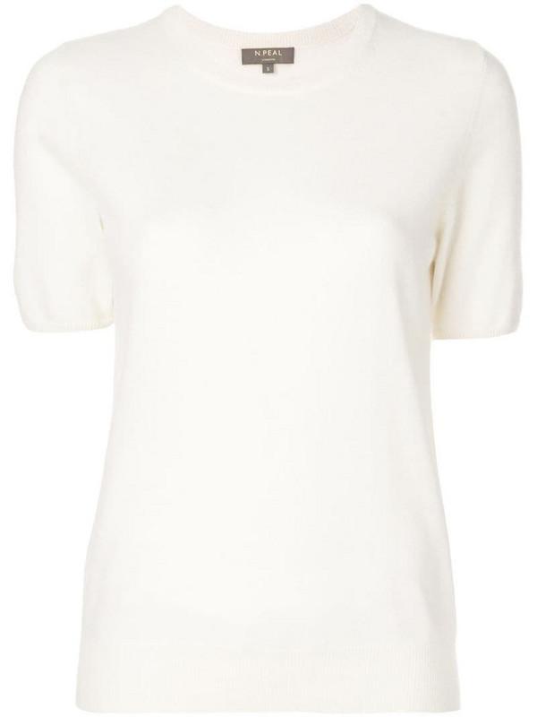 N.Peal cashmere round neck T-shirt in neutrals