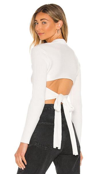 Bardot Tie Back Knit Top in White
