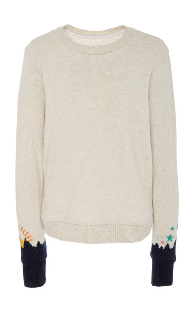 The Elder Statesman Heavyweight Intarsia Sleeves Cashmere Sweater in white