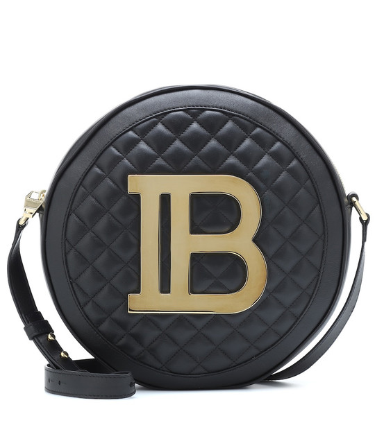 Balmain Disco quilted leather crossbody bag in black