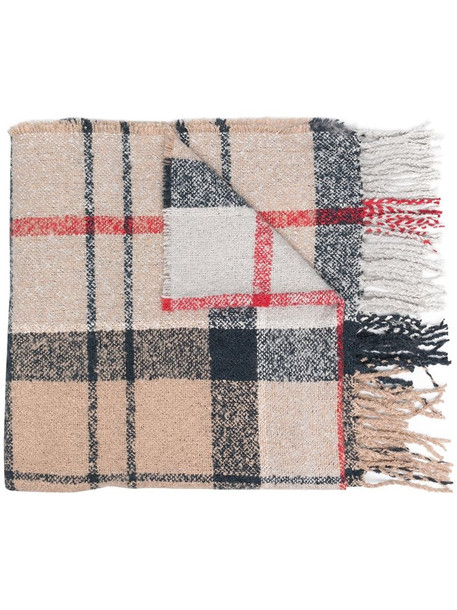 Barbour fringed check scarf in brown
