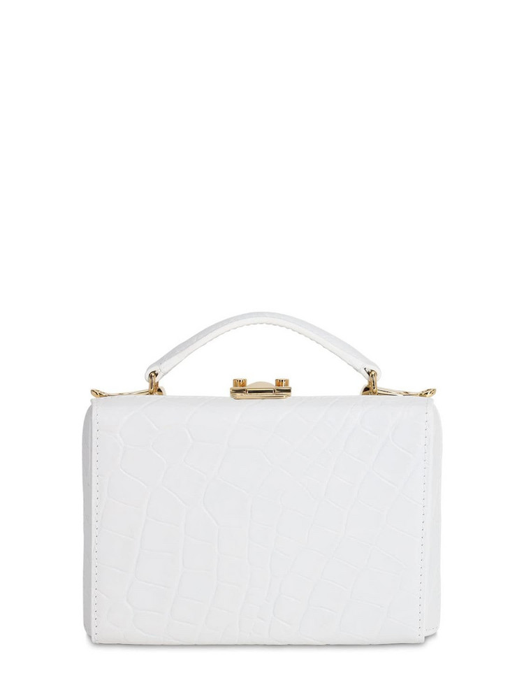 MARK CROSS Grace Mini Box Croc Embossed Leather Bag in white