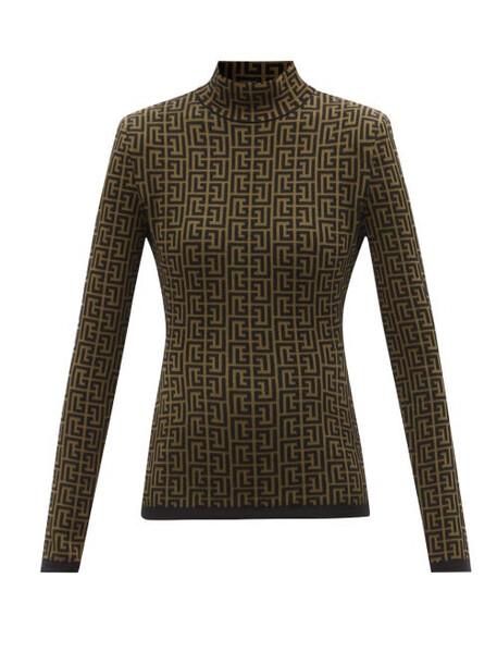 Balmain - Monogram-jacquard Wool-blend Top - Womens - Khaki