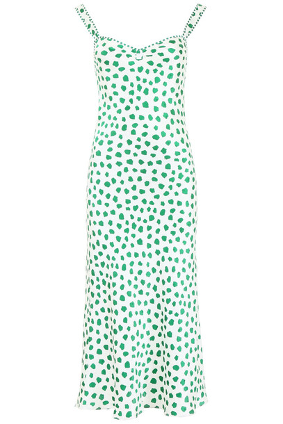 Rixo London Romeo Dress in green / white