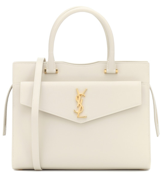 Saint Laurent Uptown Medium leather tote in white