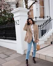 jacket,blazer,oversized,cropped jeans,ankle boots,white shirt,floral shirt,handbag