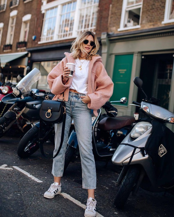 jacket wool jacket pink jacket topshop high waisted jeans straight jeans adidas white sneakers black bag white t-shirt