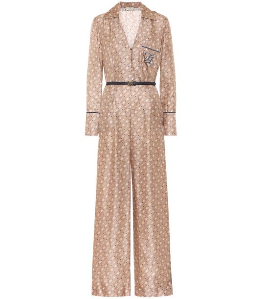 Fendi Printed silk-twill jumpsuit in beige