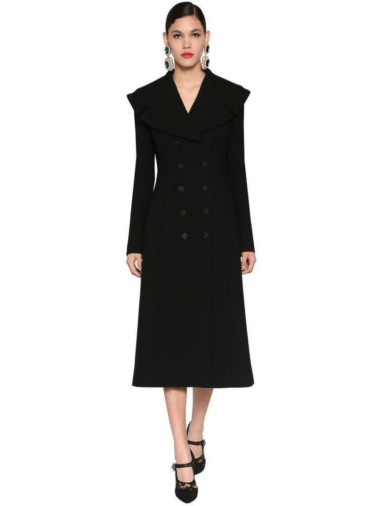 DOLCE & GABBANA Stretch Wool Coat W/ Oversized Collar in black