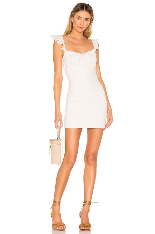 MAJORELLE Fanning Mini Dress in white